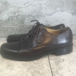 Chaps Brown Leather Cap Toe Oxfords Sz 10M